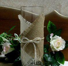 Burlap Wedding Centerpieces | Burlap wedding centerpiece Candle and flower vase by Bannerbanquet
