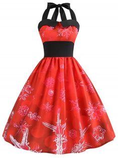 8cf211fcb84bb Christmas Snowflake Print Halter Neck Dress - RED M Fashion Outfits
