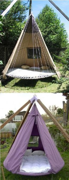 I want one of these!! (Re-purposed Trampoline)