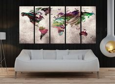 Canvas prints add a unique touch to your home. Modern, stylish and unique design will be the most special piece of your decor. Especially for those who like abstract works, black and white acrylic painting can be prepared in desired sizes  ready to hang 5 panel split Push pin world map canvas print, travel map, extra large canvas art print, world map push pin wall art No:9s34  i designed the watercolor map on photoshop. you will receive high resulation canvas print   ◆ GALLERY WRAPPED…