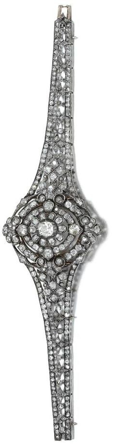 Convertible diamond brooch/pendant/bracelet, mid-19th century.
