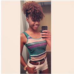 @Chasity Matthews Mohawk, tank, short shorts. #naturalhairdoescare #colorcodefriday