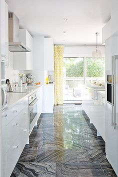 Globe and Mail Real Potential White Kitchen FLOOR design by Sarah Richardson