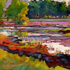 Another New Day impressionist Louisiana landscape painting colorist trees by a stream with morning light illustration