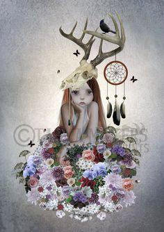 Lowbrow Art Print - Big Eyed Girl - Flowers - Skull - Dreamcatcher - The Collector