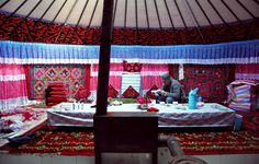 inside a Kazakh-style yurt (tourist accommodation)  || how to copy the colourfulness?