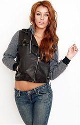 Stussy, Leatherette Hoodie Jacket - Black at MLTD.com