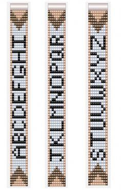 Alphabet Letter Patterns for Miyuki Beadloom Bracelets 7 col.- Alphabet Letter Patterns for Miyuki Beadloom Bracelets 7 columns A-Z - Loom Bracelet Patterns, Seed Bead Patterns, Bead Loom Bracelets, Beaded Jewelry Patterns, Weaving Patterns, Mosaic Patterns, Knitting Patterns, Embroidery Patterns, Bead Loom Designs