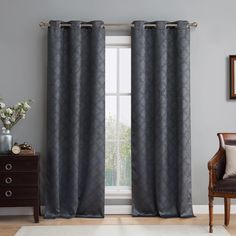 Lattice Geometric Blackout Thermal Grommet Curtain Panels