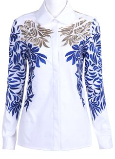 White with Blue Baroque Embroidery Long Sleeve Blouse