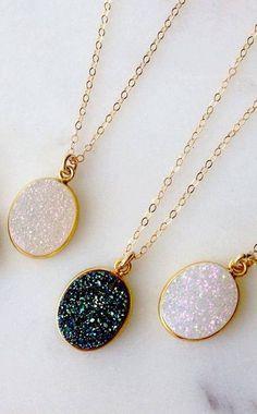 Galaxy druzy necklaces