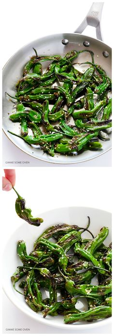 Easy Sesame Shishito Peppers -- all you need are 5 ingredients to make these irresistibly sweet and savory appetizer | gimmesomeoven.com