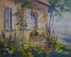 Ölgemälde von Ute Herrmann | Garten hinter dem Haus mit Blumentisch und Rosenspalier www.ute-herrmann-kunstmalerin.de