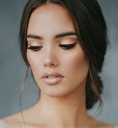 nude lips natural eyes make up eyeliner - nude Makeup - Wedding Makeup For Brown Eyes, Natural Wedding Makeup, Natural Eye Makeup, Natural Eyes, Wedding Hair And Makeup, Bridal Makeup, Bridesmaid Makeup Natural, Hair Wedding, Eyeliner Make-up