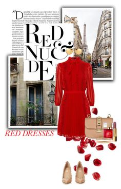 """RED DRESS"" by gizaboudib ❤ liked on Polyvore featuring Balmain, Valentino, Kate Spade, Chanel, Linda Farrow, women's clothing, women, female, woman and misses"
