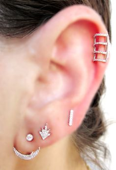 Diamond Crescent and Post Earring, Starburst and Diamond Bar posts and topped off with a Diamond Ear Topper - The EarStylist by Jo Nayor