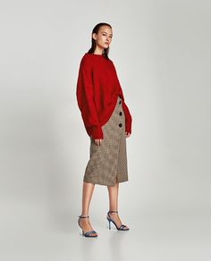 Checked Wrap-Style Midi Skirt from zara - USD Fall Fashion Trends, Love Fashion, Jersey Oversize, Look Zara, Alexa Chung Style, Wrap Style, My Style, Zara Skirts, Midi Skirts
