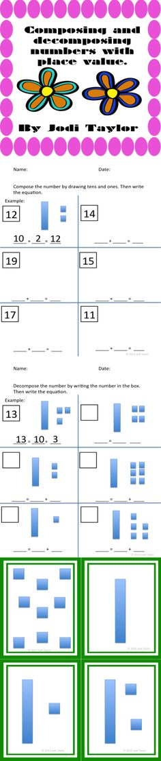 Composing and Decomposing Numbers. Practice composing and decomposing numbers at school and at home. Includes base ten subitizing flash cards.