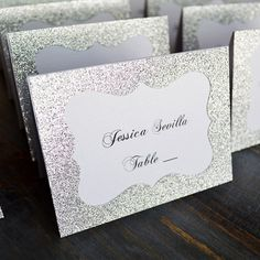 Silver Glitter Place Cards - Escort Card - Custom Placecard for Wedding, Sweet 16, Quincea�era, Bridal Showers - Silver Glitter Frame