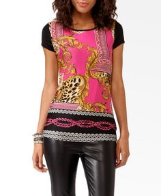 18 scarf print contrast top from f21