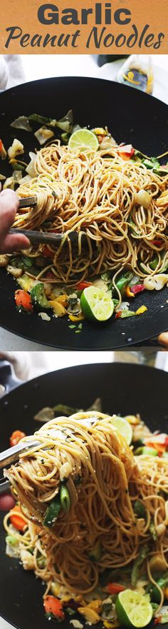 Garlic Peanut Noodles Recipe - Delicious noodles and stir fried vegetables are… Because I have a peanut allergy, I'd replace all peanut ingredients with almond ingredients.