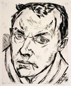 Max Beckmann, self portrait, dry point