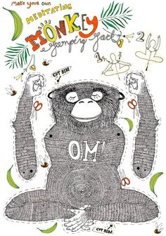 Meditation Yoga-Hampelmann Affe Abbildung von SigneGabriel auf Etsy