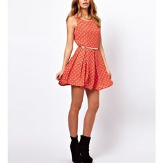 Cuddly Red Polka Dots Dress, Look lovely in this stylish dress, you can dress it up or down for any occasion.