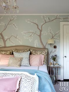 pale cherry tree wallpaper in muted colors bedroom Plaid Wallpaper, Accent Wallpaper, Bold Wallpaper, Chinoiserie Wallpaper, Temporary Wallpaper, Tree Wallpaper Bedroom, Beautiful Wallpaper, Designer Wallpaper, Wallpaper Designs