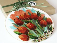 Handmade glasspainting with a wooden box. Great gift idea for your loved one!:) Check my Etsy Shop for more information! Clock Painting, Tulip Painting, Window Cleaner, Red Flowers, Wooden Boxes, Tulips, Craft Supplies, Hanger, Great Gifts