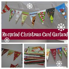 Recycled Christmas Card Garland. Love this idea for recycling Christmas cards.