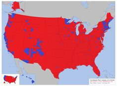 The map above gives a preliminary view how white voters voted in the 2016 US presidential election on a county by county basis. The counties in blue voted for Hillary Clinton and the ones in red voted for Donald Trump. Presidential Election, 2016 Election, Facts About People, Buy Weed Online, Us Map, White People, Historical Maps, Cartography, History