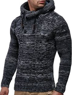 LEIF NELSON Men's Knitted Pullover Small Brown