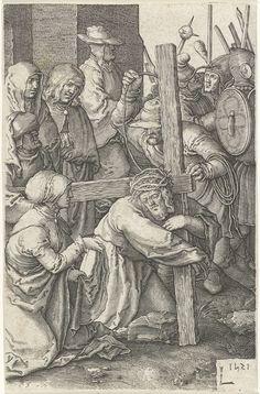 Jan Harmensz. Muller | Kruisdraging, Jan Harmensz. Muller, 1613 - 1622 | Christus draagt het kruis en naast hem knielt Veronica met haar doek. Tussen de soldaten en beulen staan Maria en Johannes.