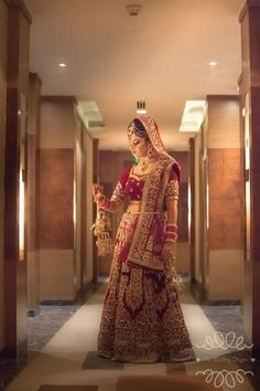 Bridal Wear - Beautiful Bridal Lehenga Photos, Hindu Culture, Maroon Color, Candid Clicks, Chooda, Kalire pictures, images, vendor credits - Our Wedding Chapter - 1786.