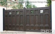 Custom driveway gates with automatic electric openers. Handmade wooden gates in a Spanish Colonial style. Unique driveway gate designs! by DynamicGarageDoors