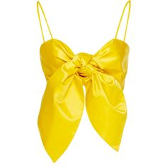 Leal Daccarett Ashanti Bow Top (10.105 ARS) ❤ liked on Polyvore featuring tops, crop top, yellow, bow top, yellow top, yellow silk top, bralet tops and bralette tops