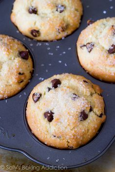 Chocolate chip muffins- this is THE perfect recipe! Just made 4 dozen and they were delicious :)
