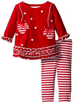 BONNIE JEAN Baby Girl Mitten Applique Red Velour Legging Set Holiday Outfit 3-6M #BonnieBaby #ChristmasEverydayHoliday