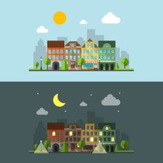 Flat design urban landscape by Microvector on Creative Market