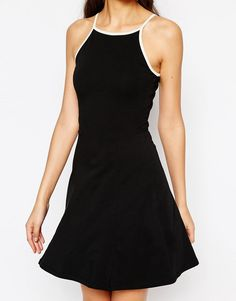 So cute! Black and white contrast skater 90s dress from ASOS