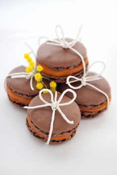 chocolate passion fruit sorbet macarons