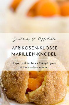 Super lecker und dabei ganz einfach selber machen: mein Rezept für fruchtige Aprikosen-Klösse, Marillen-Knödel mit leckeren Zimt-Bröseln. Wer kann da schon widerstehen. Mit etwas zerlassener Butter schmeckt das ganze wie bei Muttern zu Hause. Probiert es doch einfach aus! #marillenknödel #Aprikosen #klösse #klöße #knödel #lecker #einfach #marillen Everyday Food, Cookie Desserts, Cornbread, Fudge, Bakery, Food And Drink, Sweets, Healthy Recipes, Cookies