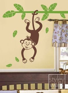 Tree Vinyl Wall Decal for Kids - Jungle Monkey Swinging from a Branch- Nursery wall decal baby room decor sticker kids sticker