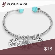"""New pics!! Too  cute seahorse charm bracelet!! I just love these bracelets!!!!! So cute and bendable - can be worn In many different ways!!  turquoise seahorse and dream charm bracelet.  colors: turquoise and rhodium burnished  size 0.75"""" Farah Jewelry Jewelry Bracelets"""