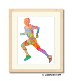 Runner Running Man - Simple and Colorful Athletic Male Marathon Runner Watercolor Art Print Poster Painting - SCR025