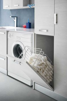 Browse laundry room ideas and decor inspiration. Discover designs for custom laundry rooms and closets, including utility room organization and storage solutions. Small Laundry Rooms, Laundry Closet, Laundry In Bathroom, Small Bathroom, Bathroom Interior Design, Interior Design Living Room, Living Room Designs, Laundry Room Cabinets, Small Room Bedroom