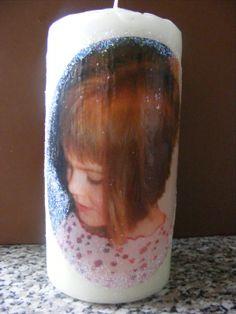 Foto als Serviette ausgedruckt mit MaryNETT Transferfolie. Anschl, mit MaryNETT Kerzenkleber auf die Kerze aufgeklebt. Erhältlich im: www.serviettenklebershop.de
