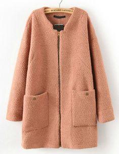 Khaki Long Sleeve Zipper Pockets Coat