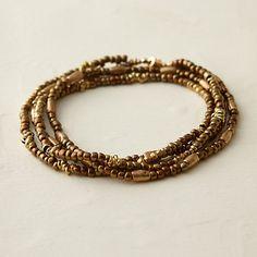 Beaded Bronze Wrap Bracelet